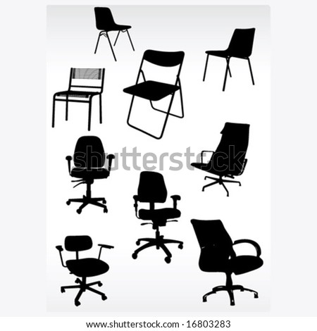 Office armchairs patterns composition - stock vector