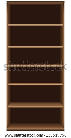 Office bookcase six shelves. Furniture section. Vector illustration.