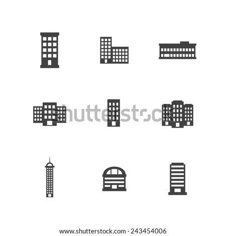Office Building Bold Icons - stock vector