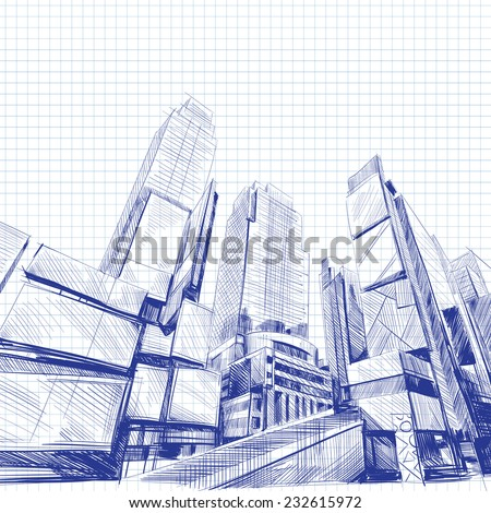 Office building hand drawn, vector illustration - stock vector