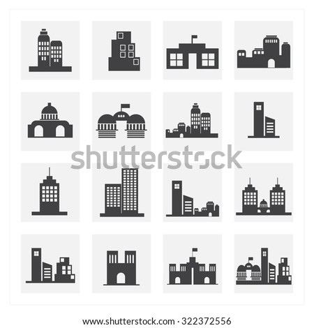 office building icon set - stock vector