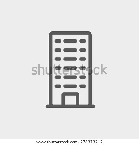 Office building icon thin line for web and mobile, modern minimalistic flat design. Vector dark grey icon on light grey background. - stock vector