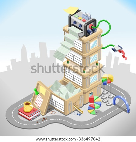 Office building made out of office equipment such as printer, files, crates and coffee mug in front of an urban silhouette (isometric illustration)  - stock vector