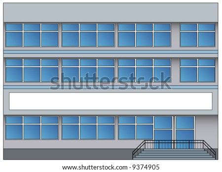 Office building with greater windows and steps