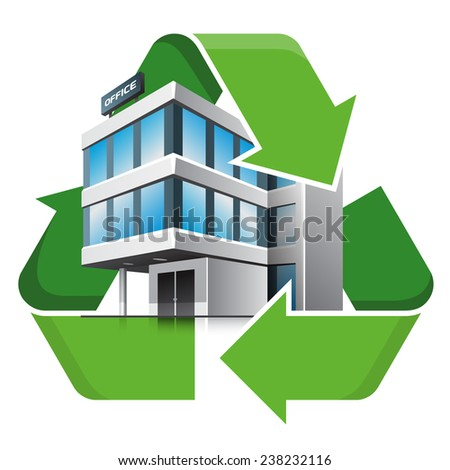 Office building with recycling symbol. Isolated vector illustration. Recycling concept.  - stock vector