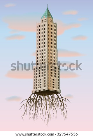 office building with roots - stock vector