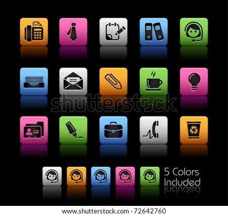 Office & Business // Color Box -------It includes 5 color versions for each icon in different layers --------- - stock vector