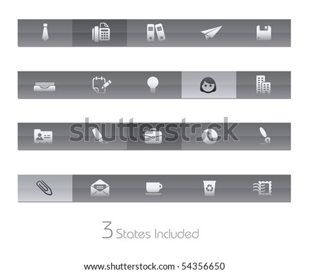 Office & Business // Gelbar Series  +++ It includes 3 buttons states in different layers.  +++ - stock vector
