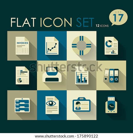 office & business icon set vector flat design - stock vector