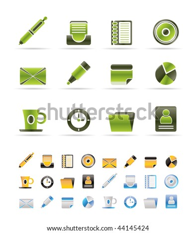 Office & Business Icons - Vector icon Set - 3 colors included