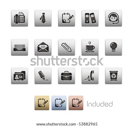 Office & Business // Metallic Series - It includes 4 color versions for each icon in a different layer. - stock vector