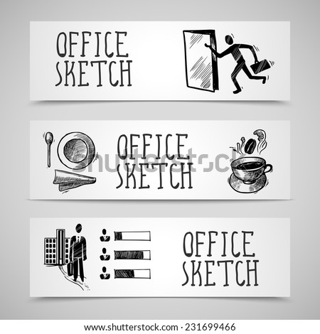 Office business sketch design concept horizontal banner set isolated vector illustration - stock vector