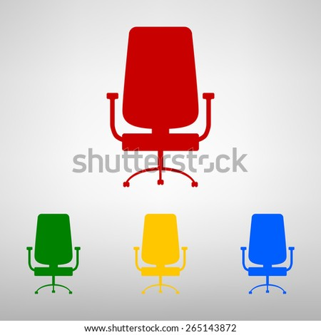 Office chair icon isolated. Flat colorfull stule - stock vector