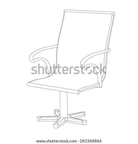 Office chair with a back the isolated contour on a white background - stock vector