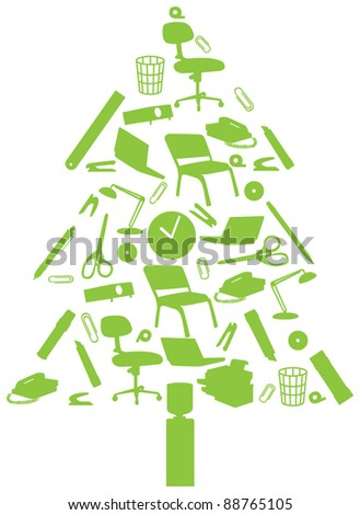 Office christmas tree - stock vector