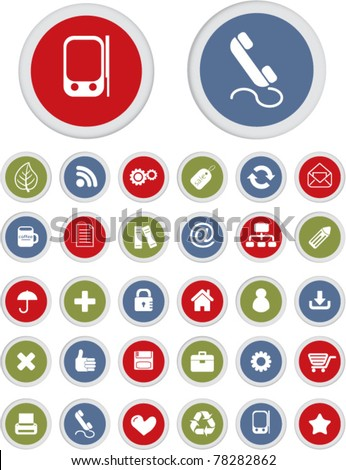 office circle buttons, icons, signs, vector illustrations - stock vector