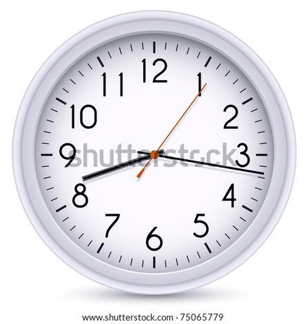 Office Clock. Vector Illustration - stock vector