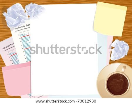 Office creative business desktop. Vector template. - stock vector