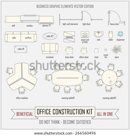 office design and layout construction kit - stock vector