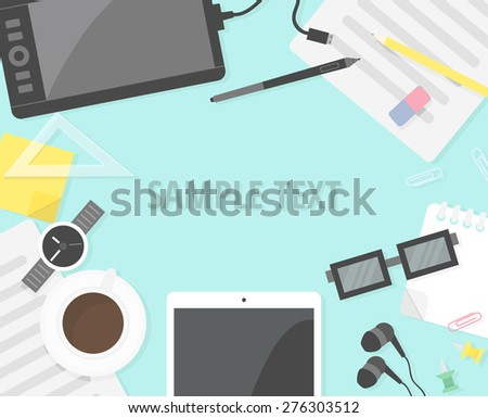 Office desk background in flat style with copy space for your text. Top view.  - stock vector