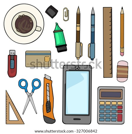items for office desk. office desk top view filled with various items laptop notebooks coffee cup for s