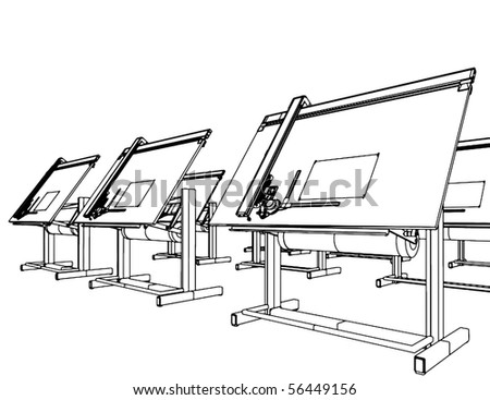 Office Desks For Drawing Vector 05 - stock vector