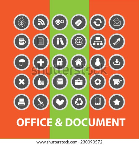 office, document, business buttons, icons, signs, illustrations set, vector - stock vector