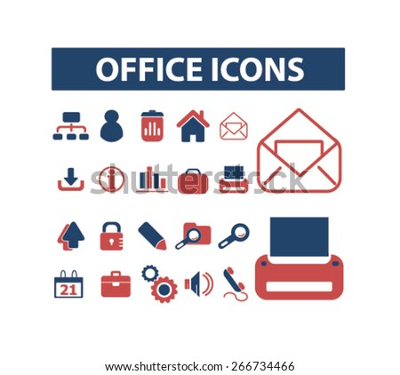 office, document icons, signs, illustrations design concept set. vector - stock vector