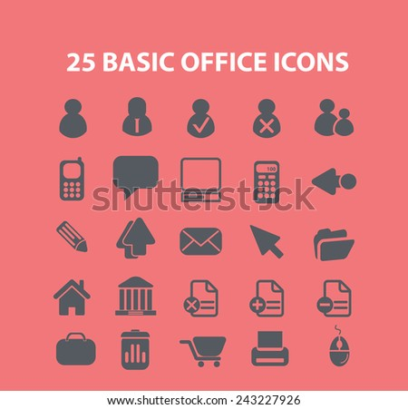 office, document, workspace icons, signs, illustrations, silhouettes set, vector