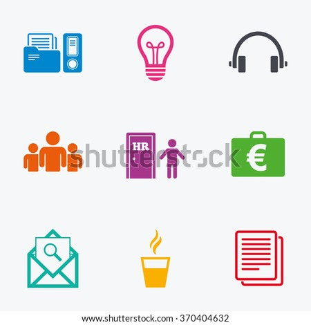 Office Documents Business Icons Accounting Human Stock Vector ...
