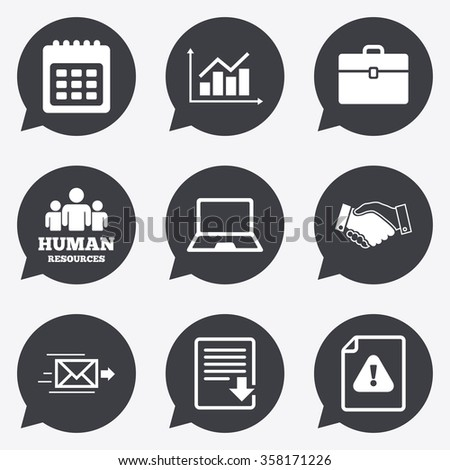 Office, documents and business icons. Human resources, handshake and download signs. Chart, laptop and calendar symbols. Flat icons in speech bubble pointers. - stock vector