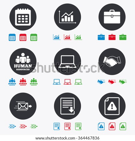 Office, documents and business icons. Human resources, handshake and download signs. Chart, laptop and calendar symbols. Flat circle buttons with icons. - stock vector