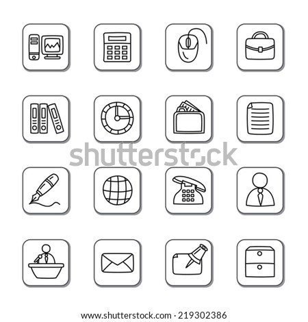Office Doodle Icons - stock vector