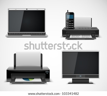 office electronics vector icons xxl - stock vector