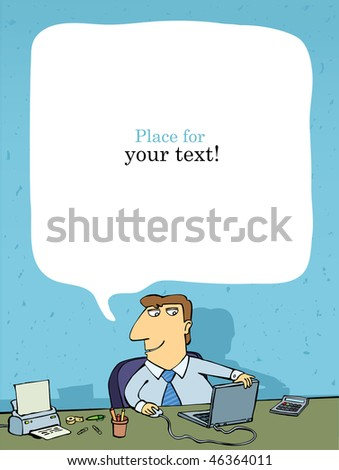 office employee at the table, place for text, vector - stock vector