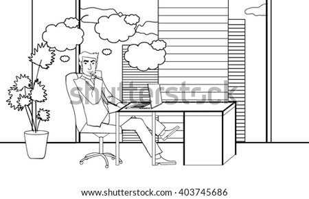 office employee. businessman. businessman. office cabinet. business. Line art doodling. the guy in the office. guy sitting.Business meeting.working environment.- modern vector illustration.