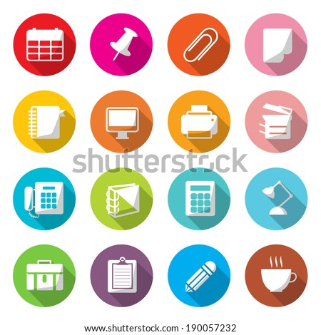 Office Equipment Circle Colorful Icons Vector. - stock vector