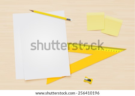 Office equipment on a table vector - stock vector