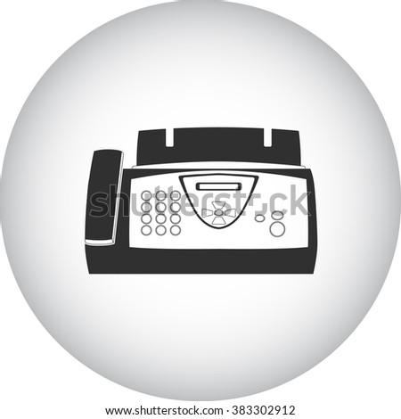 Office fax simple icon on round  background - stock vector