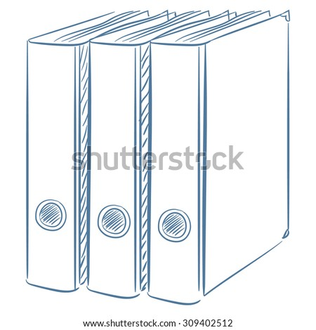 Office folders. Sketching icon - stock vector