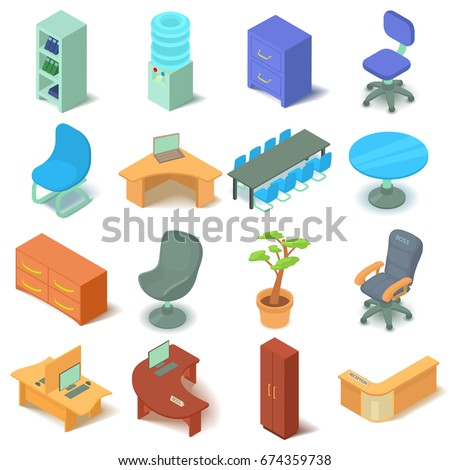 isometric office furniture vector collection. Office Furniture Icons Set. Isometric Illustration Of 16 Vector For Web Collection S