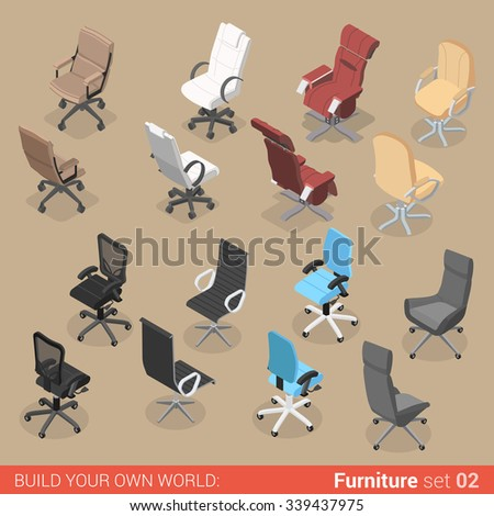 isometric office furniture vector collection. Office Furniture Set 02 Chair Seat Armchair Stool Recliner Lounge Element Flat 3d Isometry Isometric Concept Vector Collection C