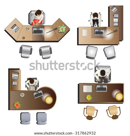office Furniture  top view set 6 for interior , vector illustration - stock vector