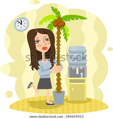 office girl dreaming about vacation - stock vector