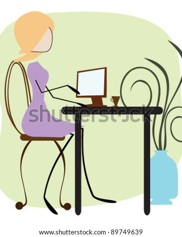 Office girl typing - stock vector