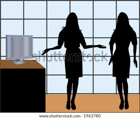 office girls - stock vector