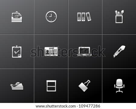 Office icon series in metallic style - stock vector