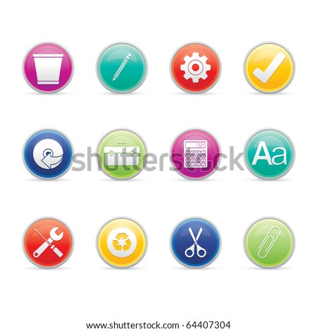 Office icon set 14 � Colored Buttons Series.  Vector EPS 8 format, easy to edit. - stock vector