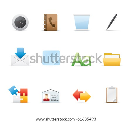 Office icon set 12 - Glossy Series.  Vector EPS 8 format, easy to edit. - stock vector