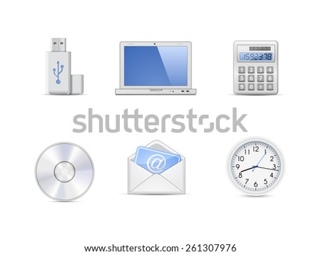 Office icon set. Highly detailed vector icons - stock vector